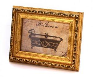 אקססוריז לבית תמונת אמבט במסגרת זהב מעוצבת